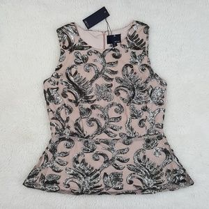 Greylin Sequin Peplum Sleeveless Top Sz Med
